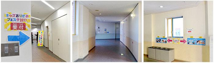左「廊下の奥まった場所にある受付」真ん中「イベント会場までの長い廊下」左「エレベータードアの前に配置したサイン」