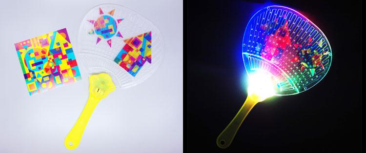カラフルなデザインペーパーで簡単デコレーションできる、光る!デコうちわ