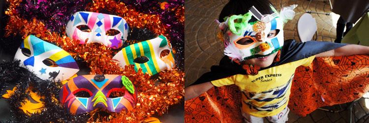 仮装行列の定番アイテムの派手なデコレーションのハロウィンマスク