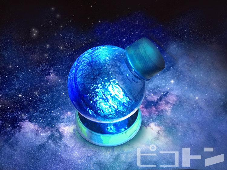 暗闇できれいに輝くプラネットボトルのランプ。